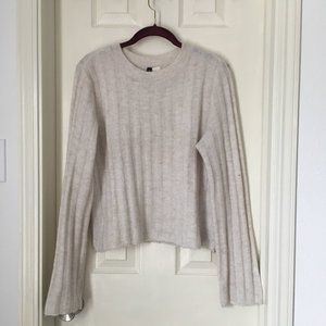 White Ribber Sweater Wide Sleeves